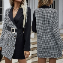 OL Style Long Sleeve Contrast Color Plaid Double-breasted Suit Coat