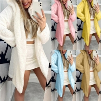 Fashion Solid Color Long Sleeve Hooded Plush Cardigan
