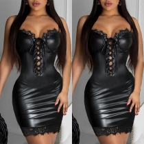 Sexy Backless Lace Spliced Lace-up Slim Fit Sling PU Leather Dress