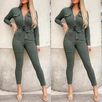 Fashion Solid Color Long Sleeve High Waist Slim Fit Army Green Jumpsuit with Waist Strap