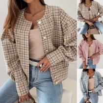Fashion Long Sleeve Round Neck Single-breasted Plaid Jacket