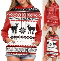 Cute Elk Pattern Long SLeeve Hooded Sweatshirt