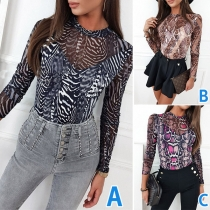 Sexy See-through Gauze Spliced Long Sleeve Round Neck Printed Tight T-shirt