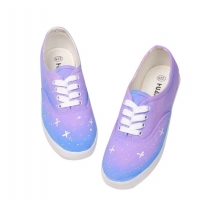 Gradient Blue Starry Sky  Canvas Shoes