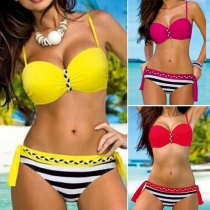 Sexy Striped Spliced Push-up Bikini Set