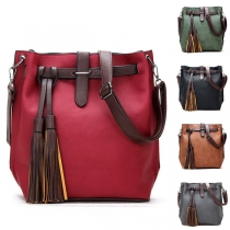 Retro Style Tassel Pendant Contrast Color Shoulder Messenger Bag