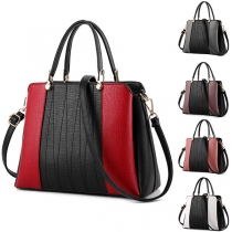 Fashion Contrast Color Handbag with Detachable Shoulder Strap