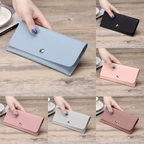 Concise Style Solid Color Multi Card Slot Snap-button Long Wallet
