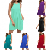 Simple Style Sleeveless Round Neck Solid Color Tank Dress