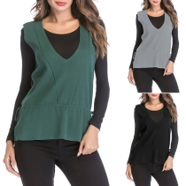 Fashion Solid Color Sleeveless V-neck Knit Vest