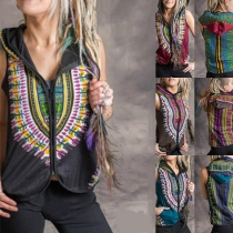 Ethnic Style Sleeveless Hooded Printed Vest