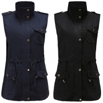 Fashion Solid Color Stand Collar Drawstring Waist Vest