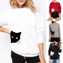 Cute Cat Printed Long Sleeve Round Neck Loose Sweatshirt