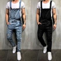 Fashion Solid Color Distressed Slim Fit Men's Denim Overalls