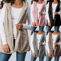 Fashion Solid Color Sleeveless Hooded Plush Vest