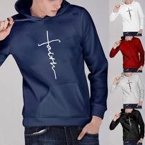 Fashion Letters Embroidered Long Sleeve Men's Hoodie