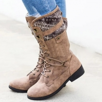 Fashion Flat Heel Round Toe Lace-up Boots