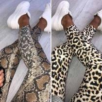 Fashion High Waist Leopard/Serpentine Print Stretch Leggings