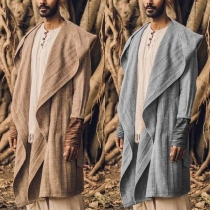 Ethnic Style Long Sleeve Hooded Solid Color Men's Cardigan