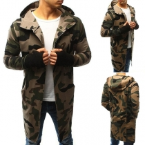Fashion Camouflage Printed Long Sleeve Hooded Men's Cardigan