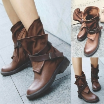 Retro Style Round Toe Flat Heel Buckle Strap Boots Booties