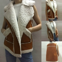 Fashion Notched Lapel Zipper Front Faux Fur Plush Spliced Vest