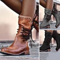 Retro Style Square Heel Round Toe Lace-up Rivets Boots
