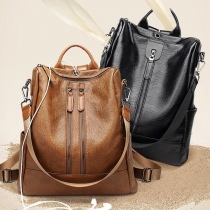 Fashion Solid Color Multifunctional PU Leather Backpack