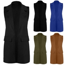 Fashion Solid Color Lapel Collar Sleeveless Side Pockets Waistcoat
