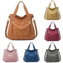 Fashion Solid Color Multi-function Canvas Handbag