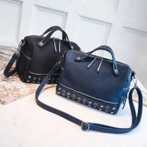 Fashion Contrast Color Multi-function Riverts Canvas Shoulder Handbag Bag