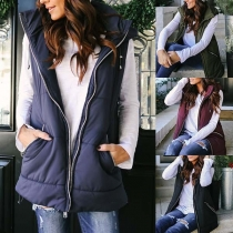 Fashion Solid Color Sleeveless Hooded Zipper-pocket Vest