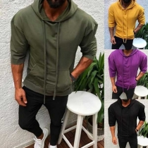 Fashion Solid Color Long Sleeve Men's Hoodie