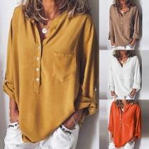 Fashion Solid Color Long Sleeve V-neck Loose Blouse