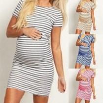 Fashion Short Sleeve Round Neck Striped Maternity Dress