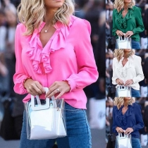 Sweet Style Long Sleeve V-neck Solid Color Ruffle Blouse