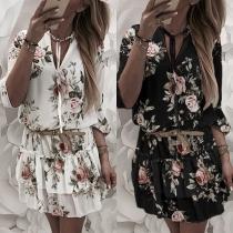 Sweet Style Long Sleeve V-neck Ruffle Hem Printed Dress(Without belt)