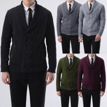 Fashion Solid Color Long Sleeve Double-breasted Men's Knit Cardigan
