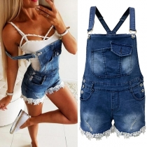 Sexy Lace Spliced Hem High Waist Denim Overalls Shorts