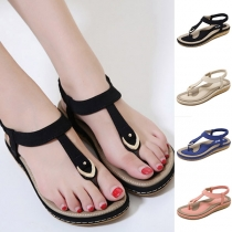 Fashion Contrast Color Flat Heel Thong Sandals