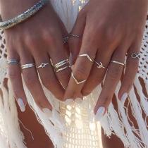 Fashion Silver Tone Ring Set 12 pcs/Set