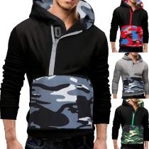 Fashion Camouflage Spliced Long Sleeve Man's Hoodie