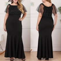 Sexy Gauze Spliced Boat Neck Solid Color Plus-size Party Dress