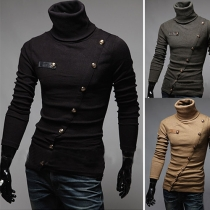 Casual Turtleneck Slant Opening Men Knitted Sweater