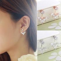 Fashion Rhinestone Leaf Stud Earrings