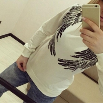 Fashion Round Neckline Long Sleeves Wing Sequin Sweatshirt(The size runs small)