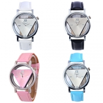 Retro Style PU Leather Watchband Triangle Hollow Out Dial Quartz Watch