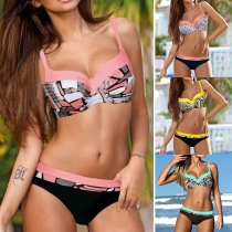 Sexy Contrast Color Printed Push-up Bikini Set