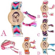 Bohemian Style Colorful Braided Watchband Monkey Round Dial Quartz Watch