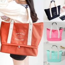 Fashion Contrast Color Big Capacity Canvas Shoulder Bag